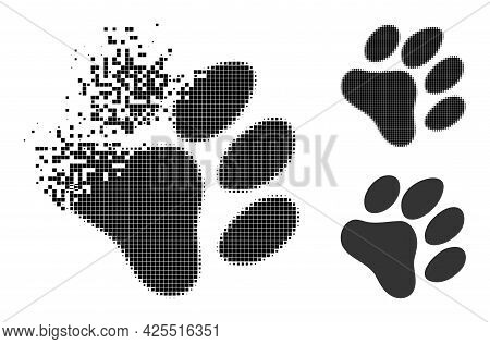 Damaged Pixelated Paw Footprint Icon With Halftone Version. Vector Destruction Effect For Paw Footpr