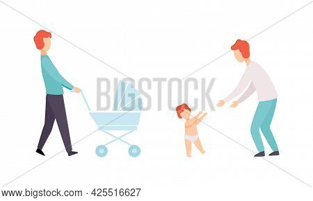 Fathers Taking Caring Of Their Babies Set, Young Dad Walking With Kid, Happy Fatherhood Concept Flat