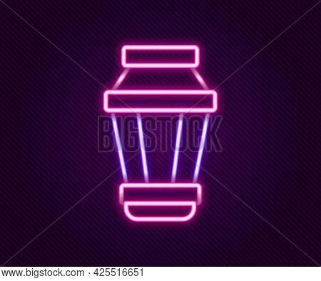 Glowing Neon Line Garden Light Lamp Icon Isolated On Black Background. Solar Powered Lamp. Lantern.