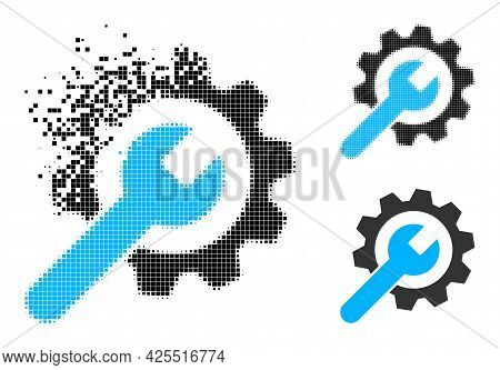 Disappearing Pixelated Service Wheel Pictogram With Halftone Version. Vector Destruction Effect For