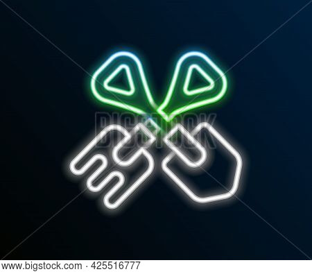 Glowing Neon Line Shovel And Rake Icon Isolated On Black Background. Tool For Horticulture, Agricult