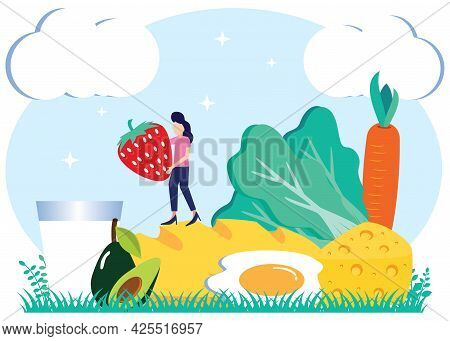 Flat Cartoon Vector Illustration Healthy Lifestyle Vegetarian Diet Food With Sample Meal Menu. Milk