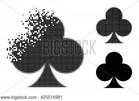 Broken Pixelated Playing Card Club Suit Pictogram With Halftone Version. Vector Destruction Effect F