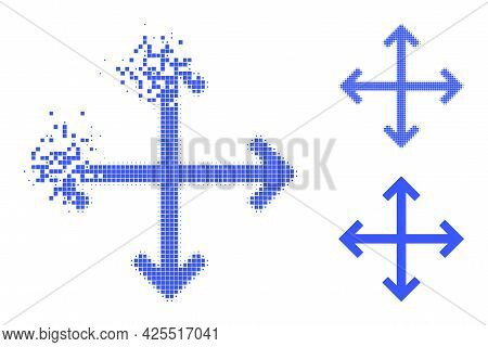 Dissipated Pixelated Enlarge Arrows Icon With Halftone Version. Vector Destruction Effect For Enlarg