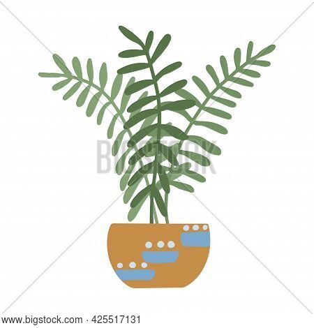 Modern Potted House Plant. Greenery Decoration For Cozy Home. Cartoon Vector Illustration Isolated O