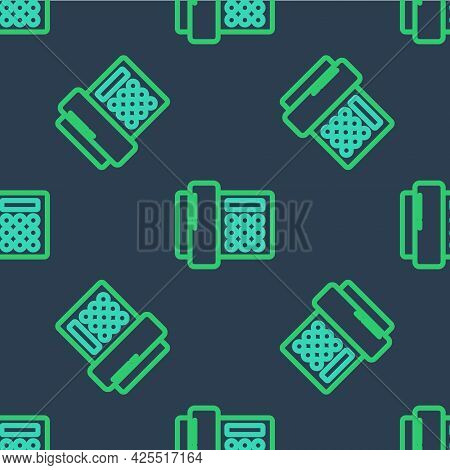 Line Telephone Icon Isolated Seamless Pattern On Blue Background. Landline Phone. Vector