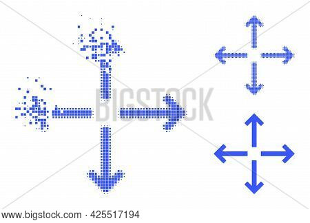 Dissolving Pixelated Expand Arrows Pictogram With Halftone Version. Vector Destruction Effect For Ex