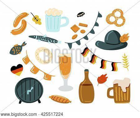 Octoberfest Beer Festival Cartoon Icons Design. Traditional Celebration Symbols. Cartoon Vector Illu