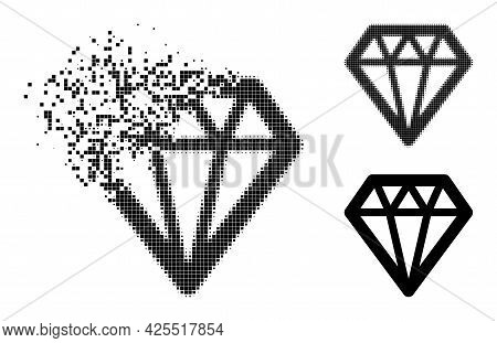 Destructed Pixelated Diamond Icon With Halftone Version. Vector Destruction Effect For Diamond Symbo