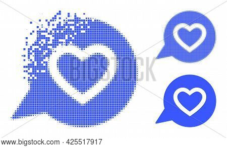 Dissolving Dot Favourite Heart Message Pictogram With Halftone Version. Vector Wind Effect For Favou