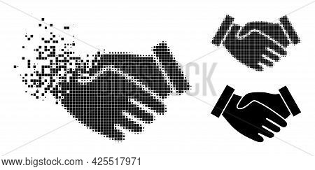 Shredded Pixelated Hand Take Pictogram With Halftone Version. Vector Destruction Effect For Hand Tak