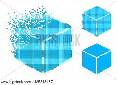 Moving Dot Sugar Cube Icon With Halftone Version. Vector Wind Effect For Sugar Cube Icon. Pixel Mist