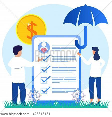 Flat Style Vector Illustration, Health Insurance Concept, Doctor Filling Out Health Insurance Forms,