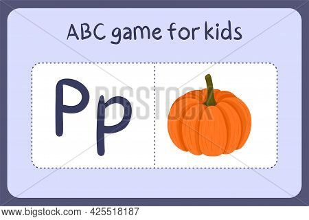 Kid Alphabet Mini Games In Cartoon Style With Letter P - Pumpkin. Vector Illustration For Game Desig
