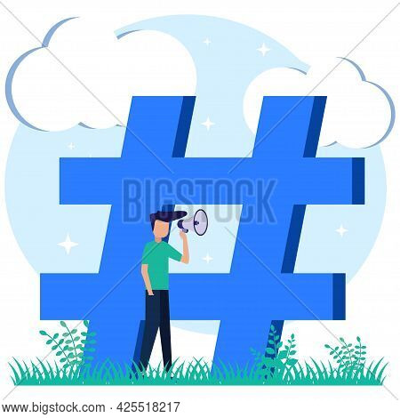 Vector Illustration Of Flat Isometric Isolated On White Background. The Social Media Concept Of The