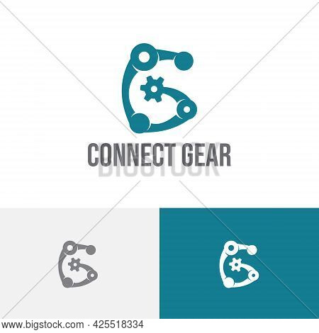 G Letter Connect Gear Machine Technology Automotive Industry Logo