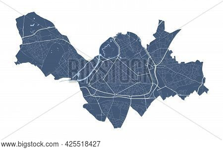 Lille Map. Detailed Vector Map Of Lille City Administrative Area. Cityscape Poster Metropolitan Aria