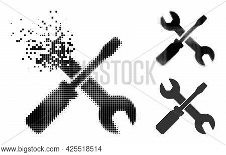 Fragmented Pixelated Screwdriver And Wrench Icon With Halftone Version. Vector Wind Effect For Screw