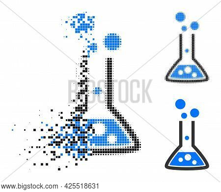 Dissolved Pixelated Reaction Flask Icon With Halftone Version. Vector Destruction Effect For Reactio