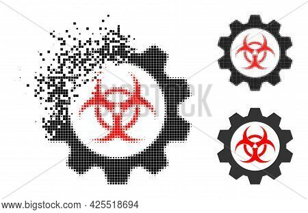 Disappearing Dot Toxic Industry Icon With Halftone Version. Vector Wind Effect For Toxic Industry Ic