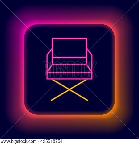 Glowing Neon Line Director Movie Chair Icon Isolated On Black Background. Film Industry. Colorful Ou