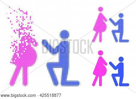 Fractured Pixelated Pregnant Woman Engagement Glyph With Halftone Version. Vector Wind Effect For Pr