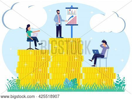 Vector Illustration Of Business Concept, Successful Business Woman Climbing The Corporate Ladder. Jo