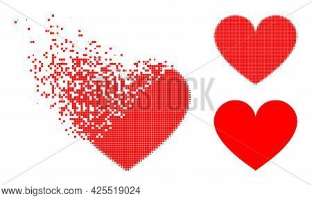 Dust Dot Love Heart Icon With Halftone Version. Vector Destruction Effect For Love Heart Pictogram.