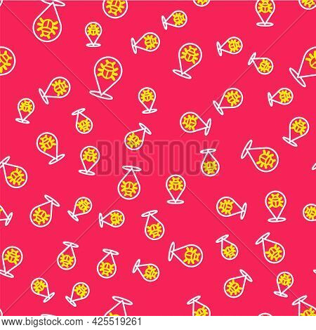 Line System Bug Concept Icon Isolated Seamless Pattern On Red Background. Code Bug Concept. Bug In T