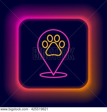 Glowing Neon Line Map Pointer With Veterinary Medicine Hospital, Clinic Or Pet Shop For Animals Icon