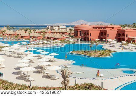 Sharm El Sheikh, Egypt - June 2, 2021: View From Above Of Hotel Albatros Laguna Vista Resort In Shar