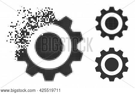 Damaged Dot Gear Icon With Halftone Version. Vector Destruction Effect For Gear Icon. Pixelated Dest