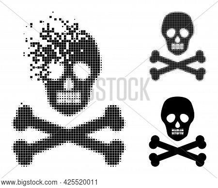 Disintegrating Dot Death Skull Glyph With Halftone Version. Vector Destruction Effect For Death Skul