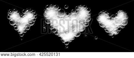 Set Of Soap Foam Pieces Shaped As Heart. Vector Realistic Soap Suds. Valentine Day Symbol. Black Bac
