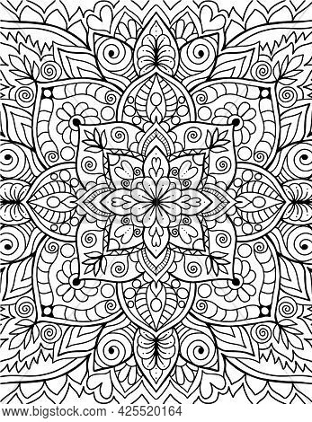 Mandala Adults Coloring Book Page. Art Therapy Template.