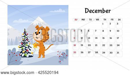 Horizontal Desktop Calendar Page Template For December 2022 With A Cartoon Chinese Year Symbol. The
