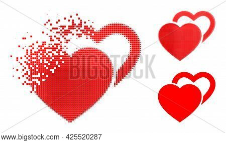 Disintegrating Pixelated Valentine Hearts Glyph With Halftone Version. Vector Wind Effect For Valent