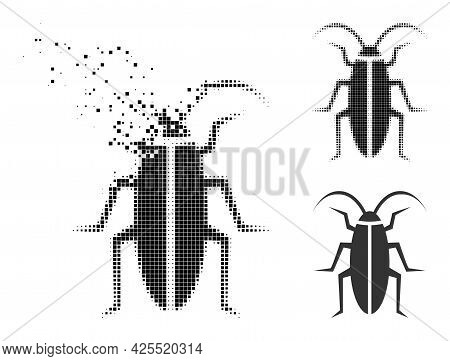 Dust Dotted Cockroach Pictogram With Halftone Version. Vector Destruction Effect For Cockroach Picto