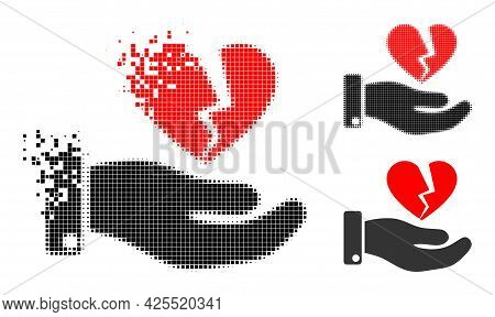 Destructed Pixelated Break Heart Offer Icon With Halftone Version. Vector Wind Effect For Break Hear