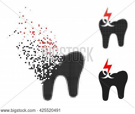 Damaged Dotted Tooth Crash Glyph With Halftone Version. Vector Wind Effect For Tooth Crash Pictogram