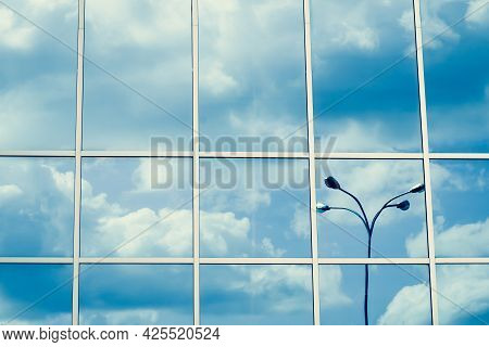 Mirrored Windows, Reflection Of Clouds And Lantern, Blue Sky, Skyscraper Surface. Line Pattern, Pers
