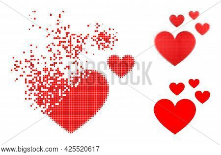 Dispersed Dot Love Hearts Icon With Halftone Version. Vector Wind Effect For Love Hearts Icon. Pixel