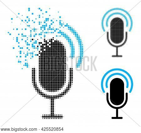 Dissipated Pixelated Microphone Icon With Halftone Version. Vector Destruction Effect For Microphone