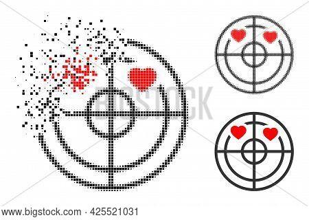 Moving Dot Love Hearts Radar Pictogram With Halftone Version. Vector Destruction Effect For Love Hea