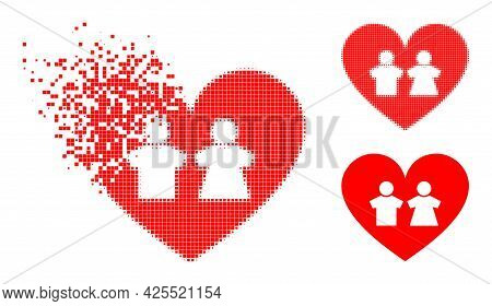 Erosion Pixelated Romantic Heart Icon With Halftone Version. Vector Destruction Effect For Romantic