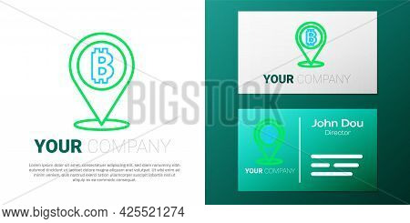 Line Location Bitcoin Icon Isolated On White Background. Physical Bit Coin. Blockchain Based Secure