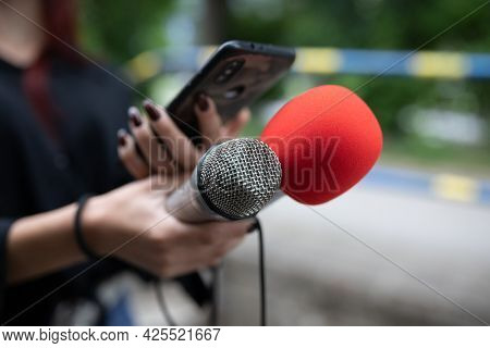 Female journalist at news conference, recording notes, holding microphone and smarthopne lice dictaphone