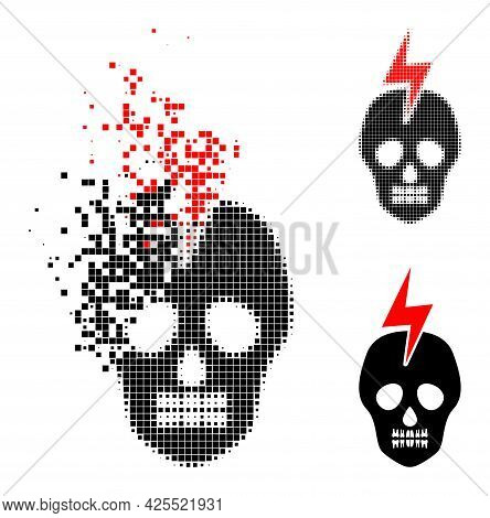 Broken Dot Mortal Electricity Icon With Halftone Version. Vector Destruction Effect For Mortal Elect