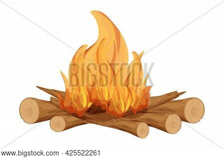 Fireplace, Fire With Wooden Tree Sticks, Twigs In Cartoon Style Isolated On White Background. Outdoo