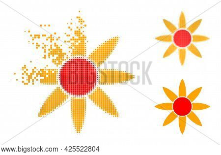 Fragmented Pixelated Sun Shine Pictogram With Halftone Version. Vector Destruction Effect For Sun Sh